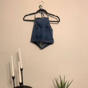 Denim Crop Halter Top